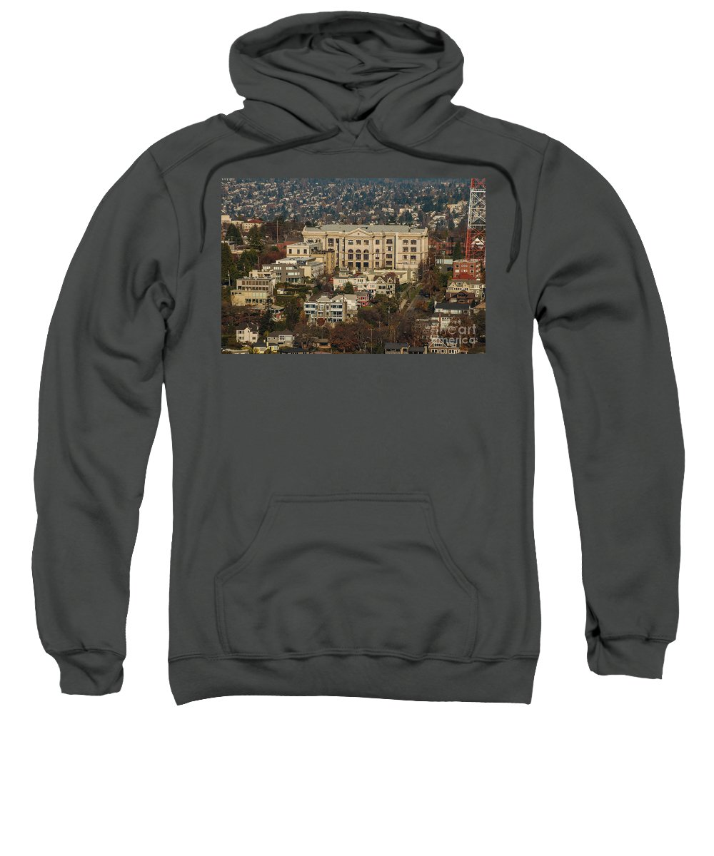 Building Sweatshirt featuring the photograph Building On Queen Anne Seattle Washington by Rich Priest