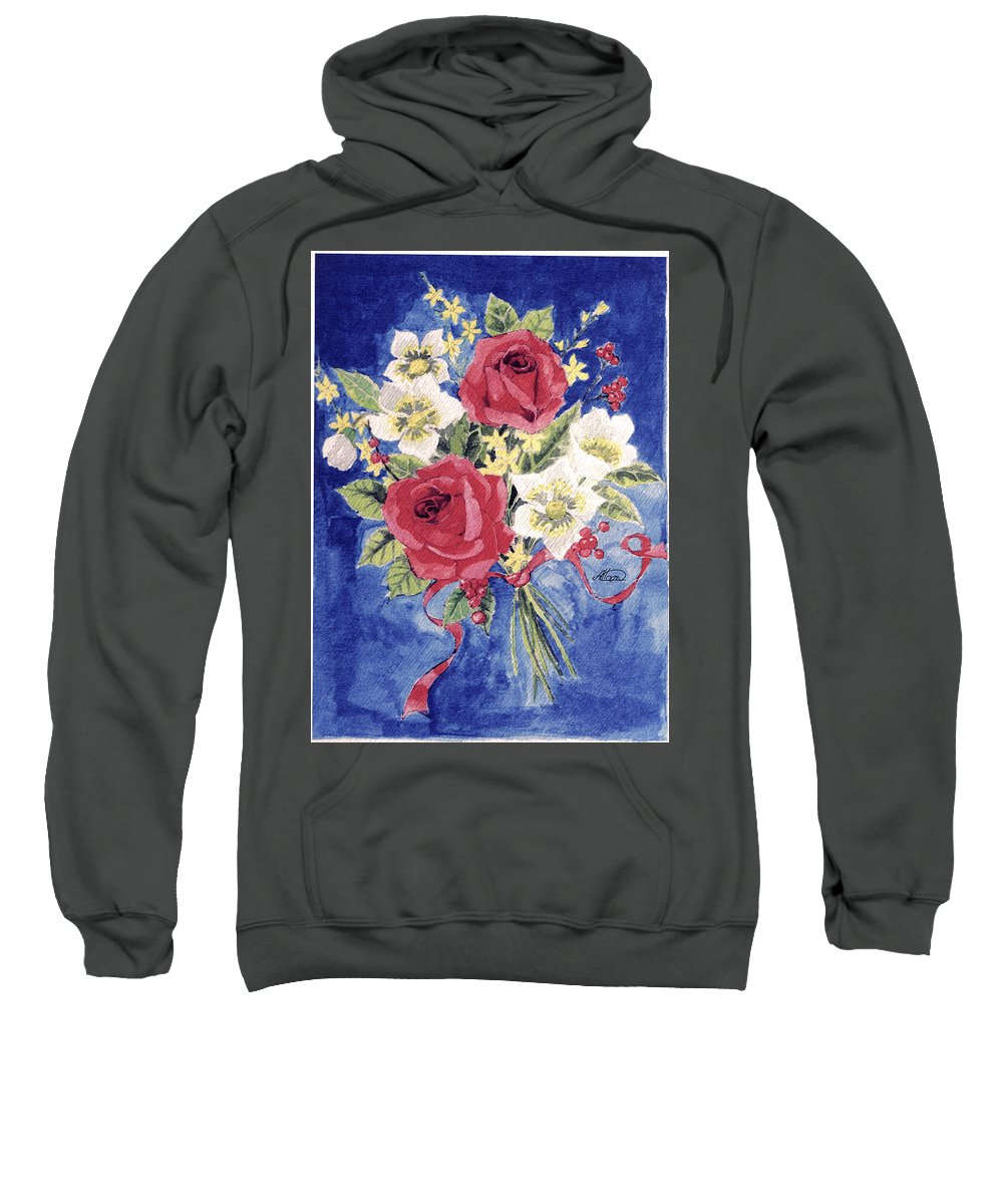 Bunch Of Flowers Sweatshirt featuring the painting Bunch Of Flowers by Alban Dizdari