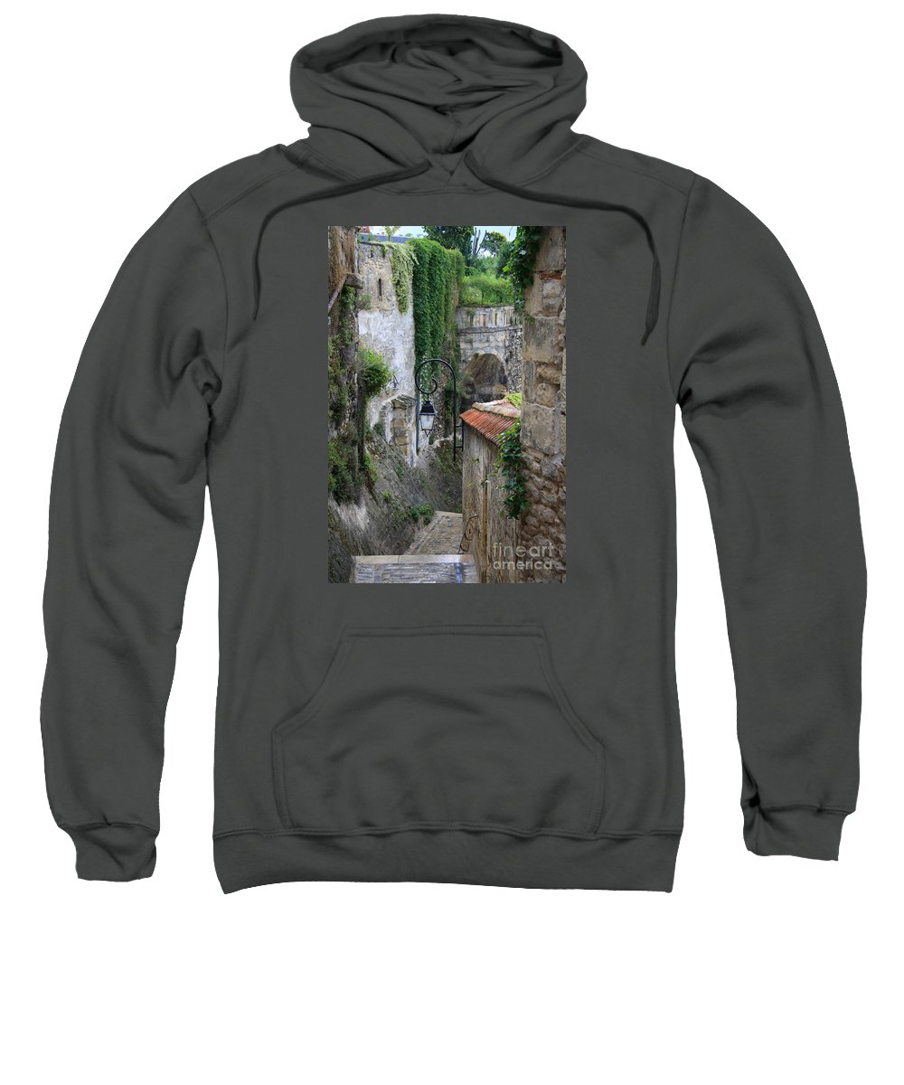 Alley Sweatshirt featuring the photograph Burgundy Alley by Christiane Schulze Art And Photography