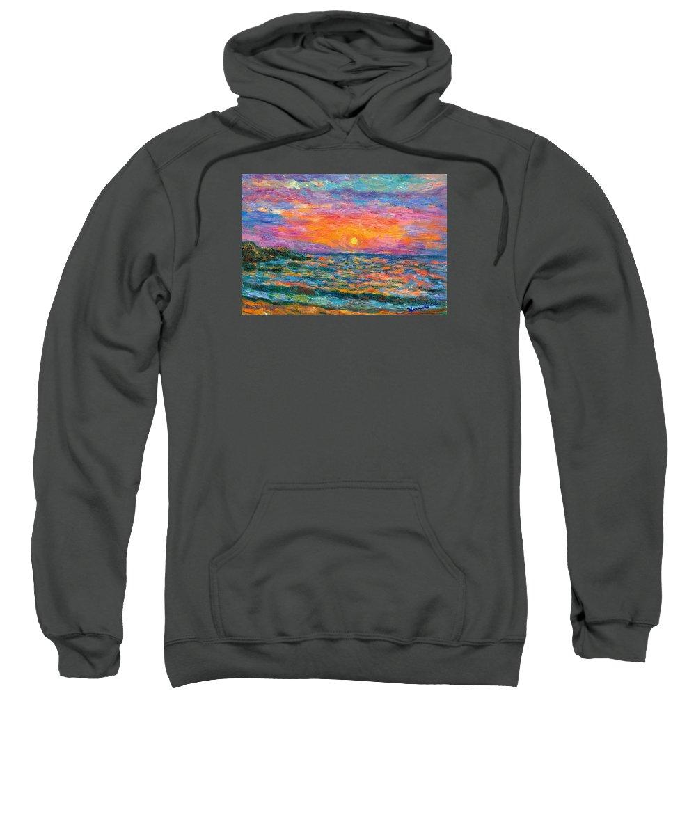 Ocean Sweatshirt featuring the painting Burning Shore by Kendall Kessler