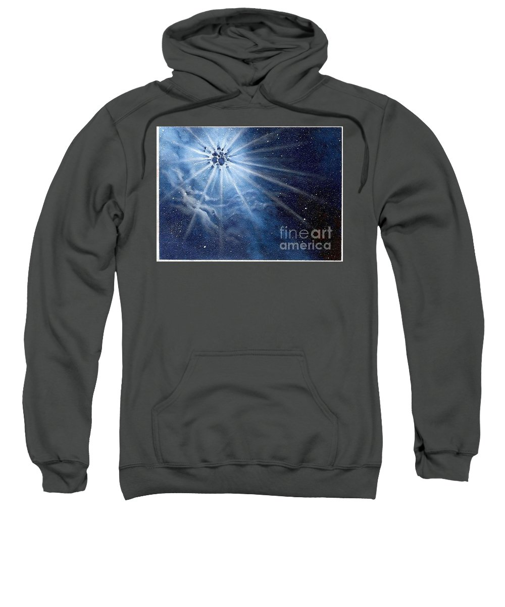 Outerspace Sweatshirt featuring the painting Burst of light by Murphy Elliott