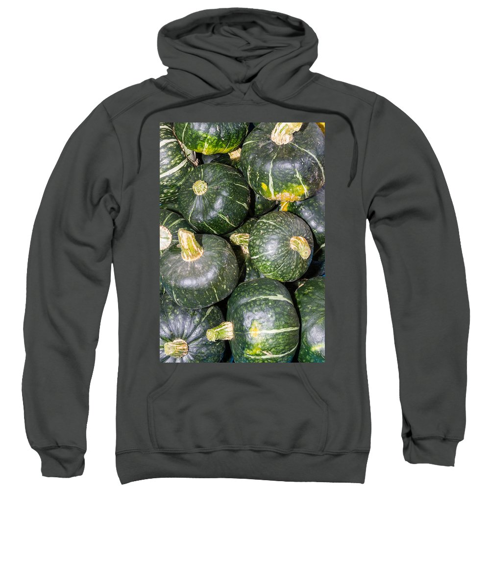 Agriculture Sweatshirt featuring the photograph Buttercup Winter Squash On Display by John Trax