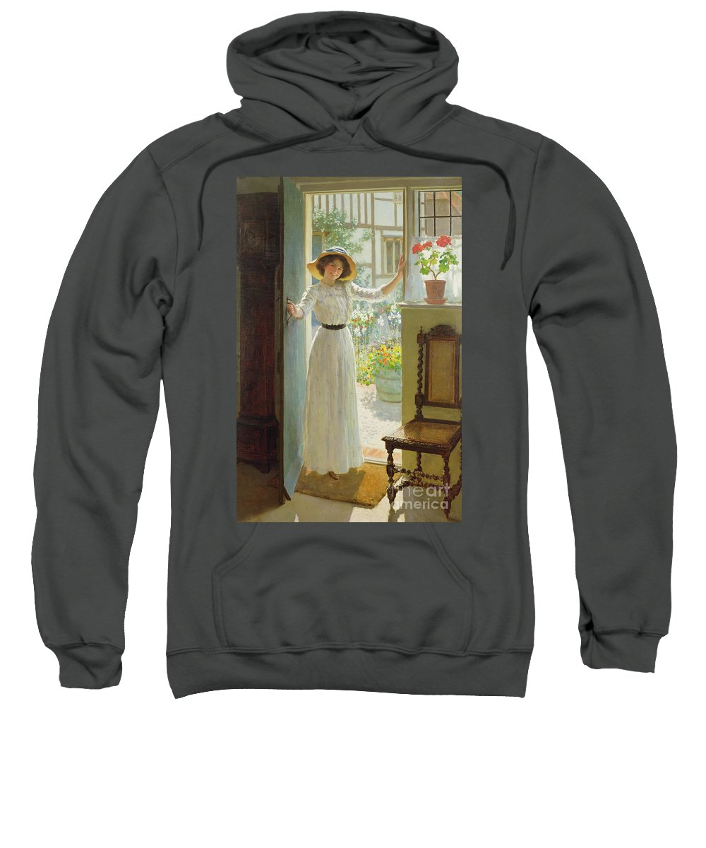 Door Sweatshirt featuring the painting By The Cottage Door by William Henry Margetson