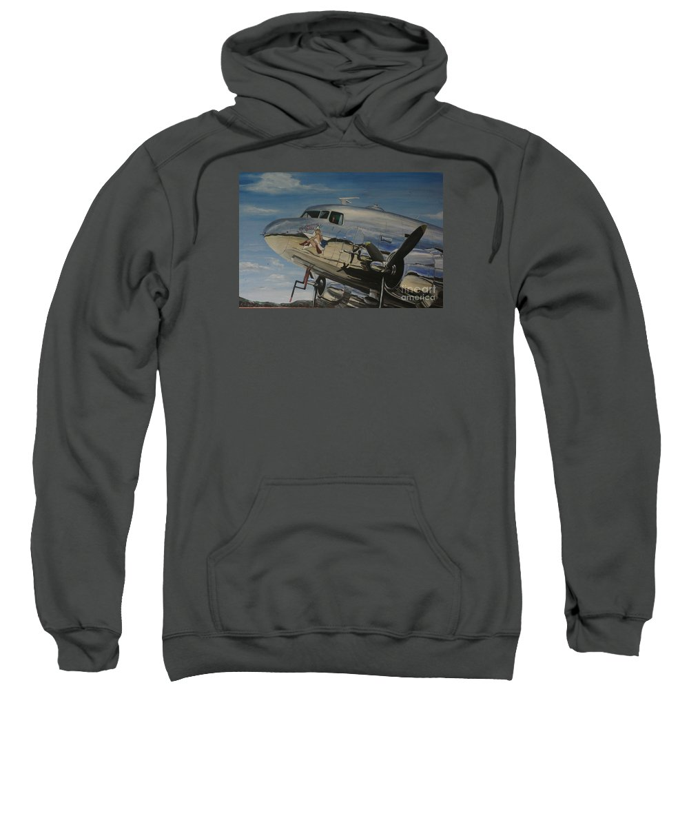 Warbirds Sweatshirt featuring the painting C47b Skytrain Bluebonnet Belle Warbird 1944 by Richard John Holden RA