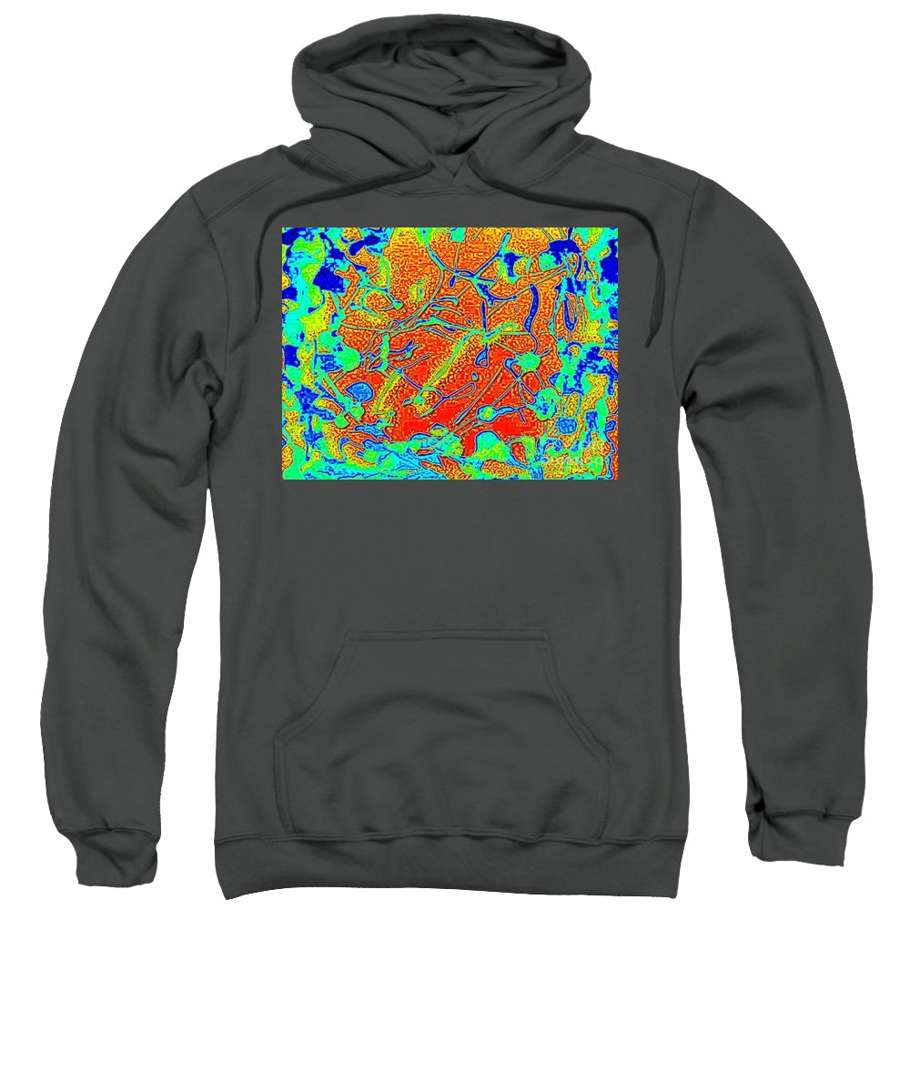 Brightly Colored Sweatshirt featuring the painting Cactus by Mark Herman