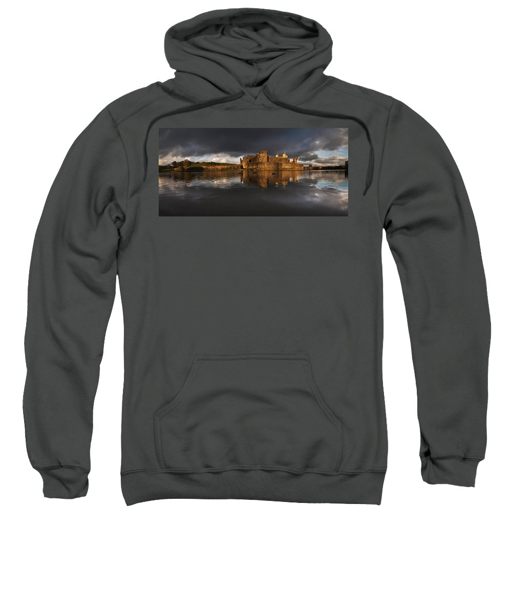 Caerphilly Castle Sweatshirt featuring the photograph Caerphilly Castle Reflection by Nigel Forster