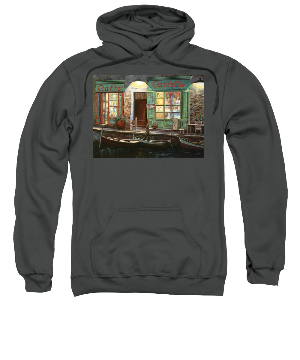 Venice Sweatshirt featuring the painting caffe Carlotta by Guido Borelli