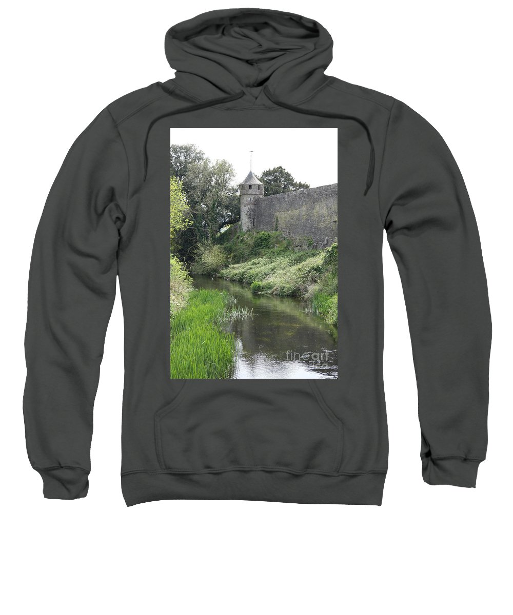 Exterior Cahir Castle Sweatshirt featuring the photograph Cahir Castle Wall And River Suir by Christiane Schulze Art And Photography