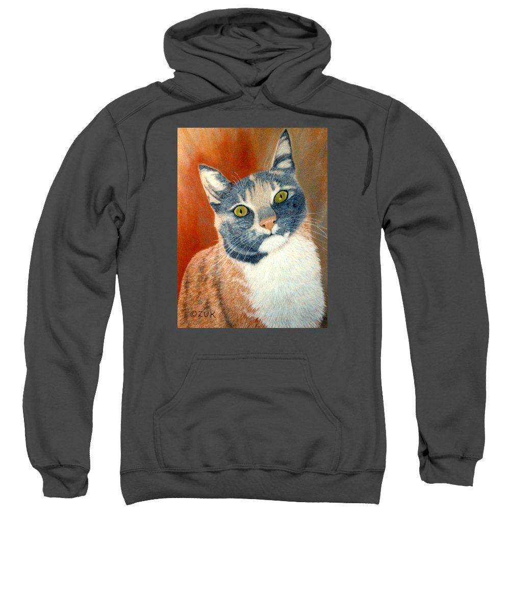 Karen Zuk Rosenblatt Art And Photography Sweatshirt featuring the painting Calico Cat by Karen Zuk Rosenblatt