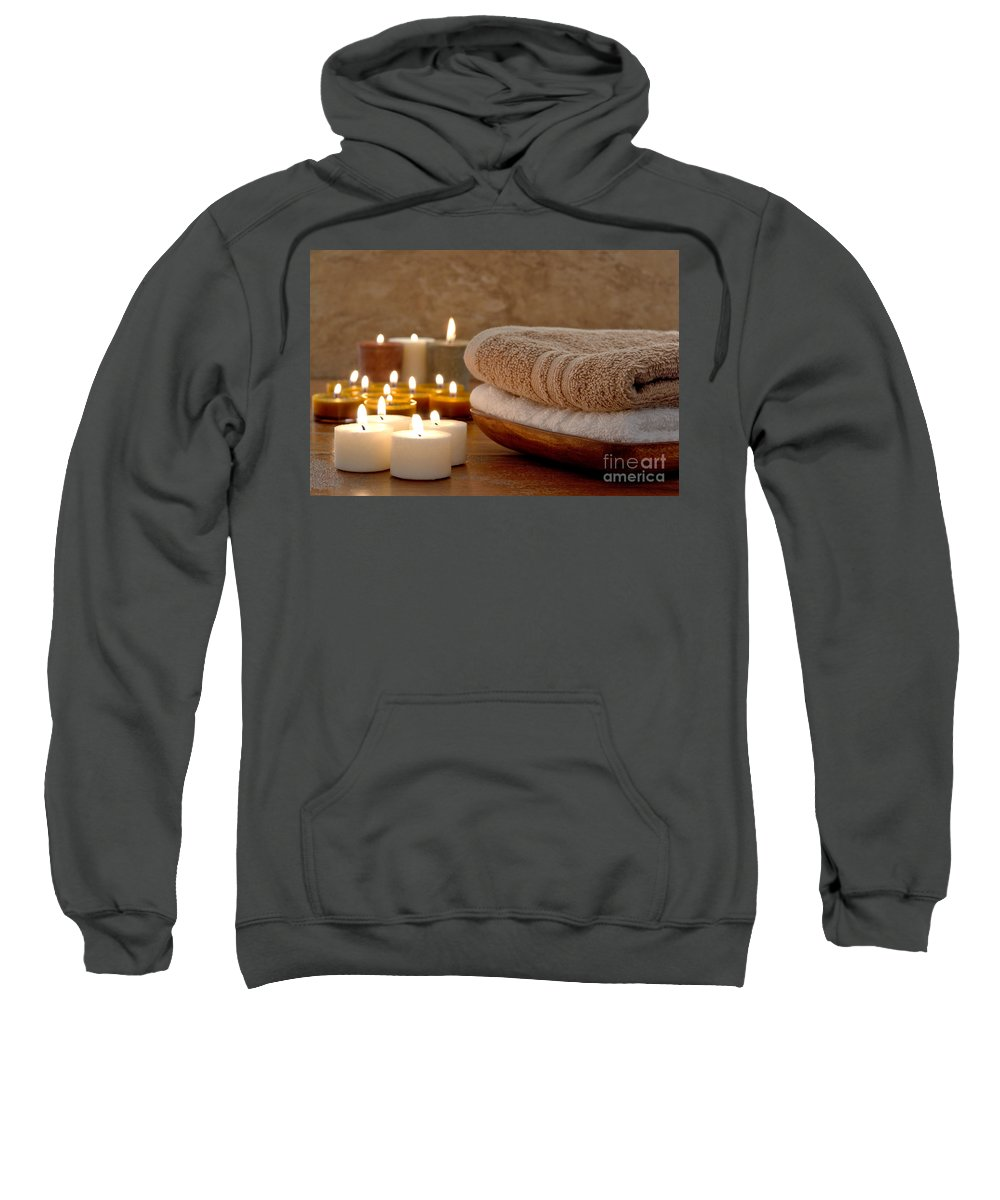 Spa Sweatshirt featuring the photograph Candles And Towels In A Spa by Olivier Le Queinec