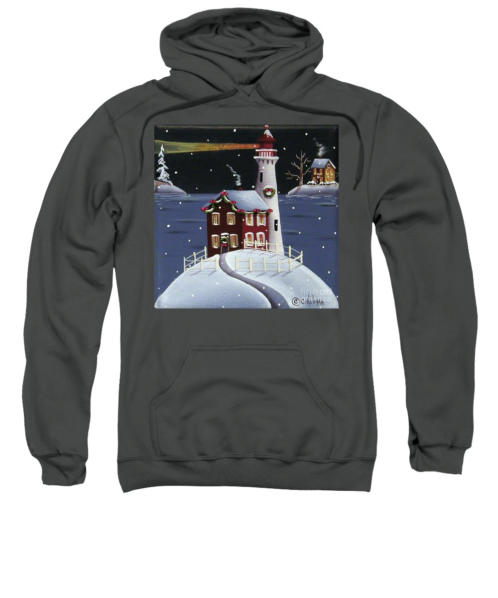 Art Sweatshirt featuring the painting Candy Cane Cove by Catherine Holman