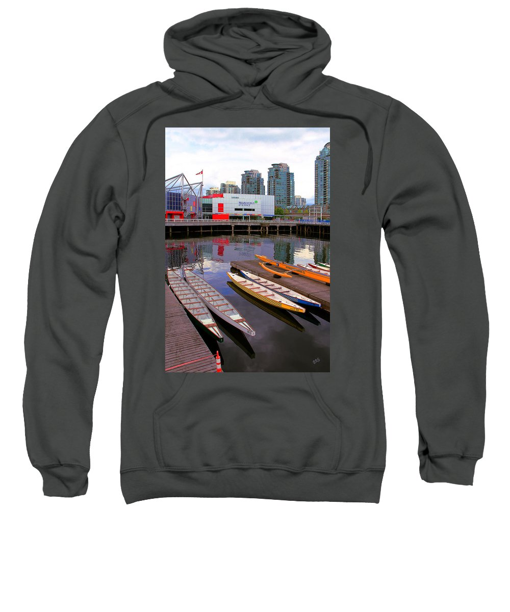 Science World Sweatshirt featuring the photograph Canoe Club And Telus World Of Science In Vancouver by Ben and Raisa Gertsberg