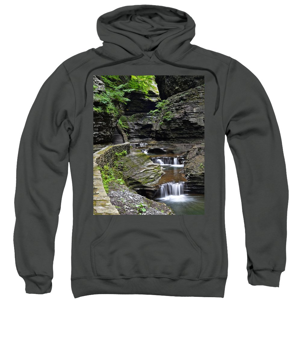Canyon Sweatshirt featuring the photograph Canyon Cascade by Frozen in Time Fine Art Photography