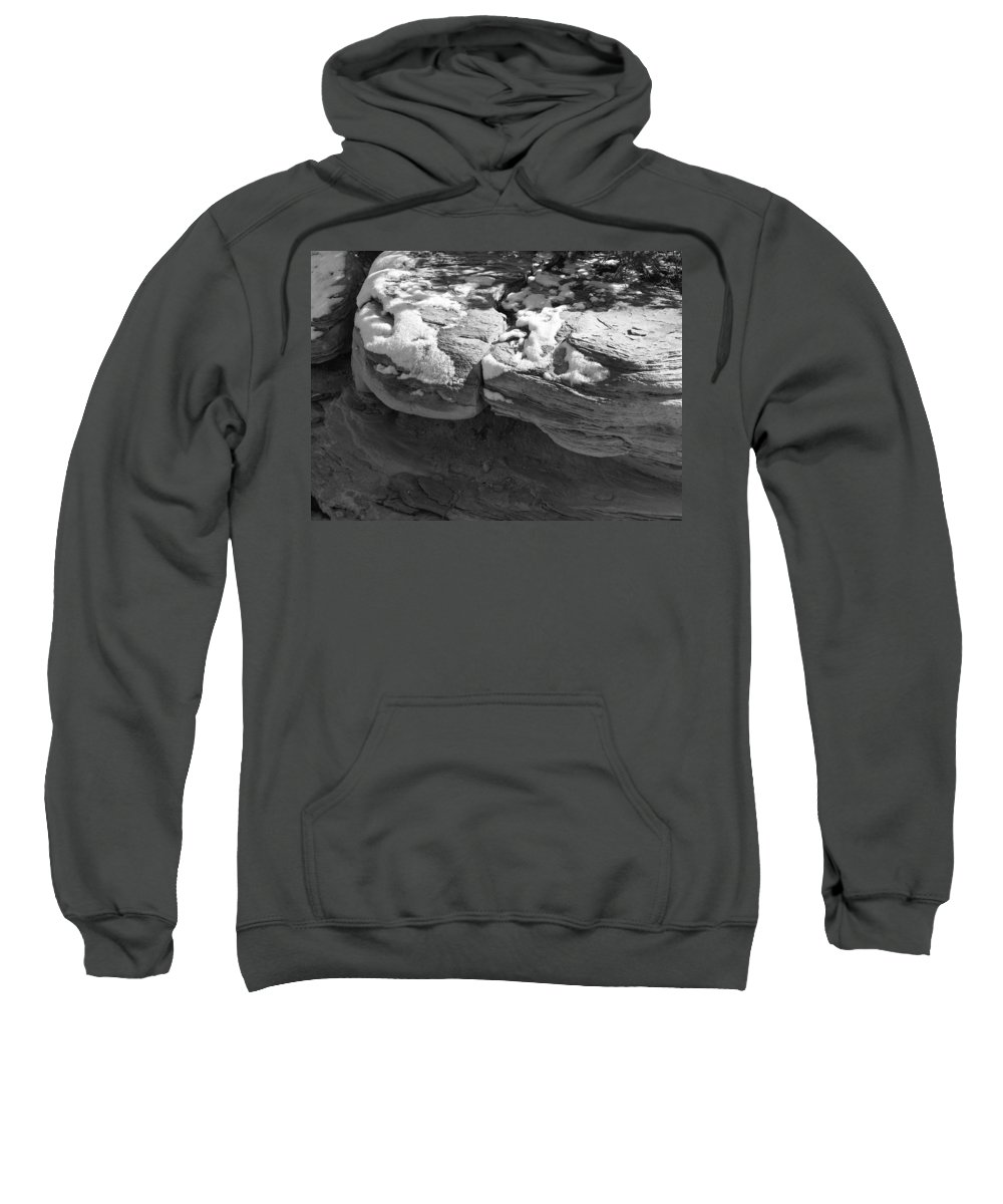 Digital Black And White Photo Sweatshirt featuring the digital art Snow In The Sun by Tim Richards