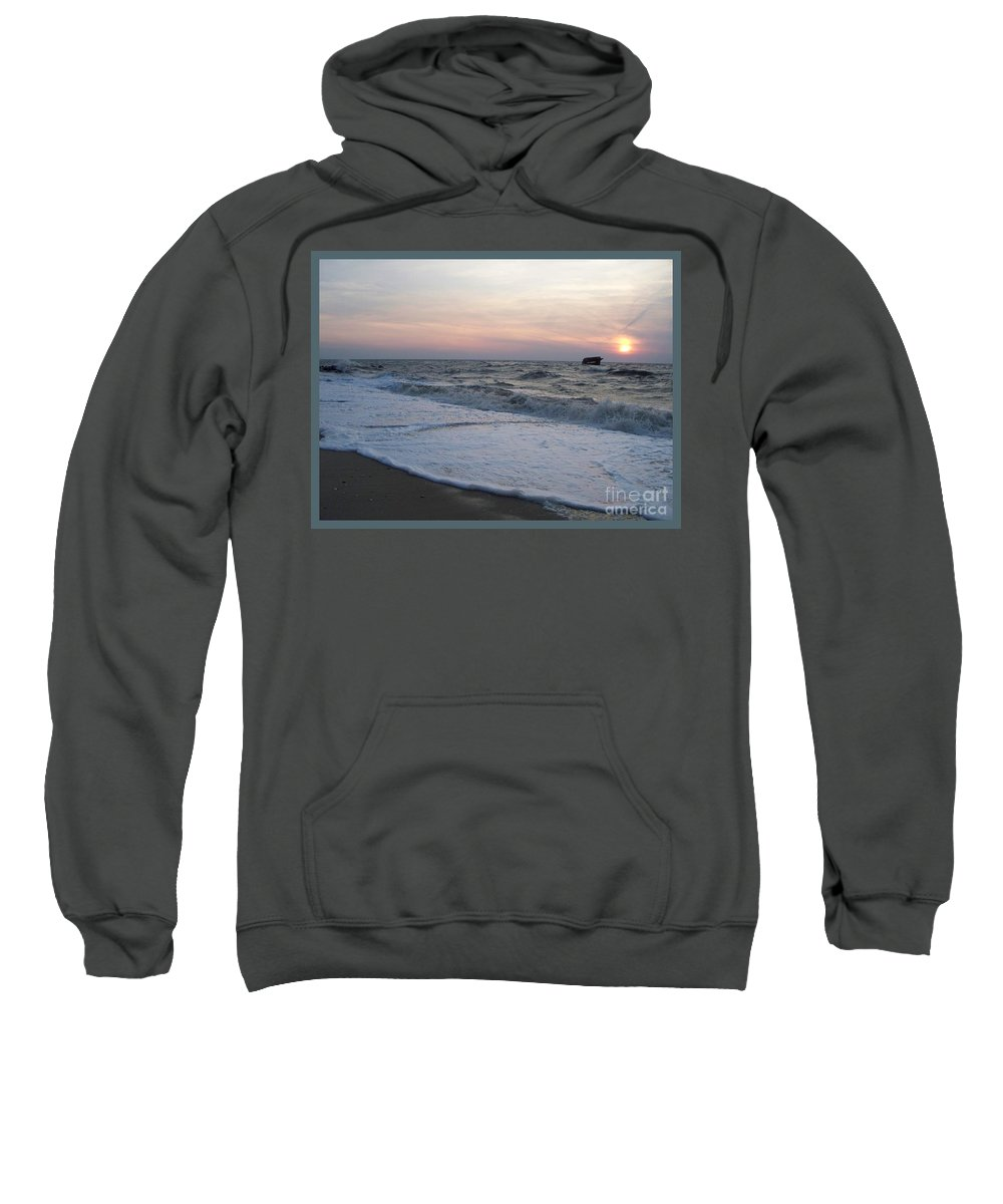 Cape May Sweatshirt featuring the photograph Cape May Sunset Beach Nj by Eric Schiabor