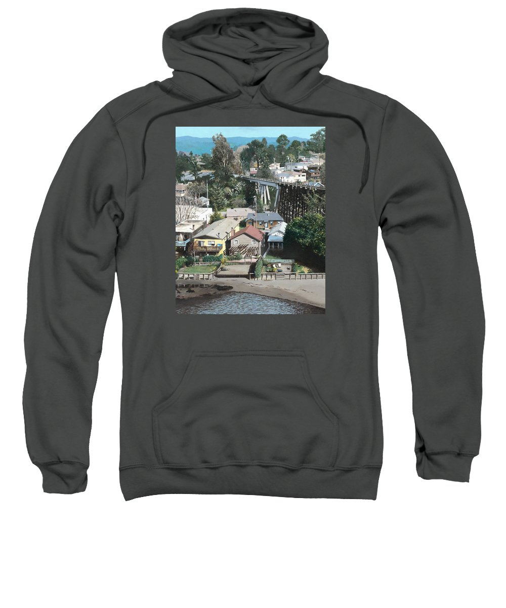 Landscape Sweatshirt featuring the painting Capitola Trestle by James Robertson