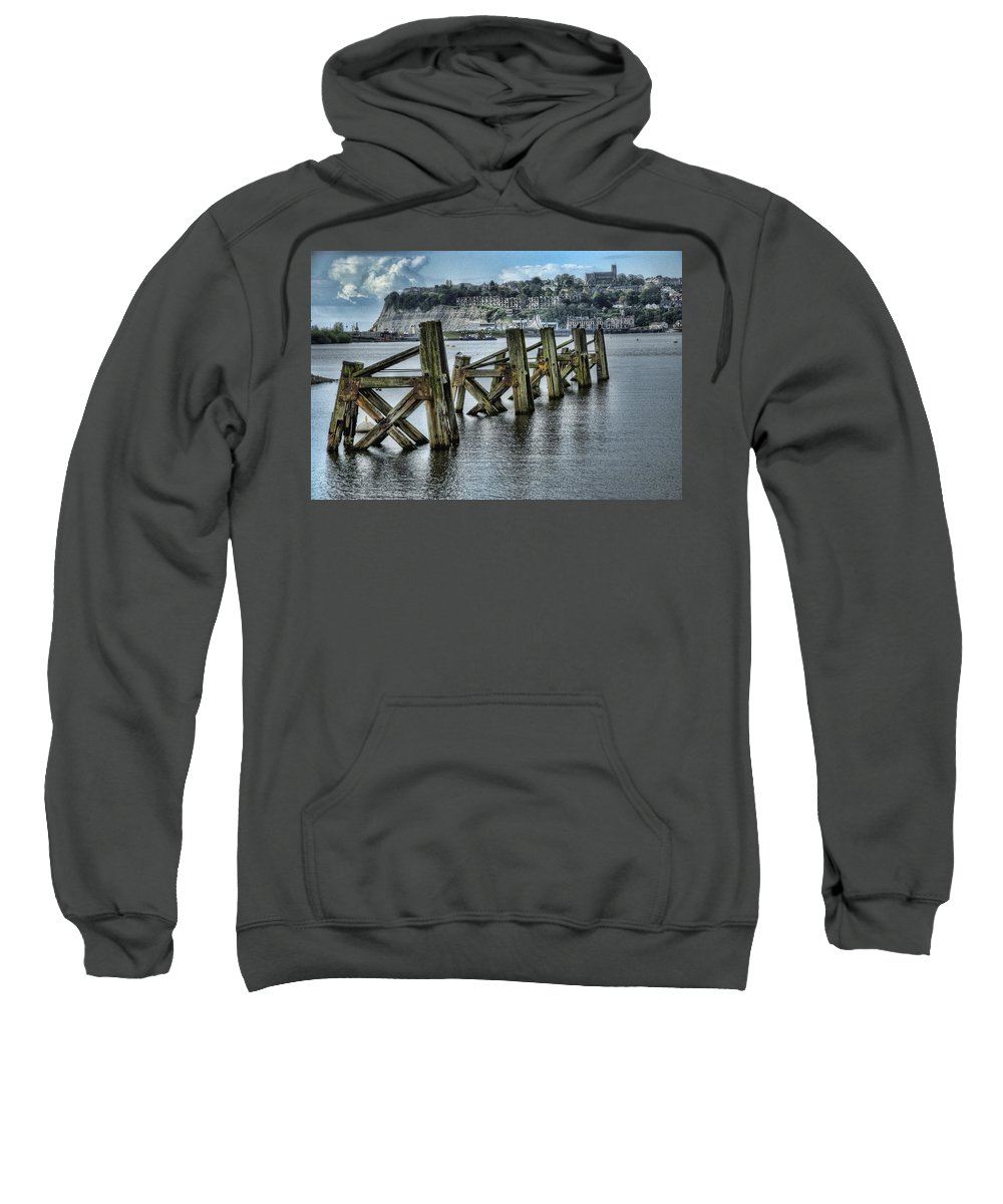 Cardiff Bay Jetty Sweatshirt featuring the photograph Cardiff Bay Old Jetty Supports by Steve Purnell