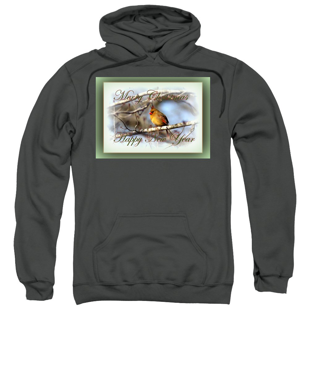 Merry Sweatshirt featuring the photograph Cardinal - Lady At Christmas by Travis Truelove