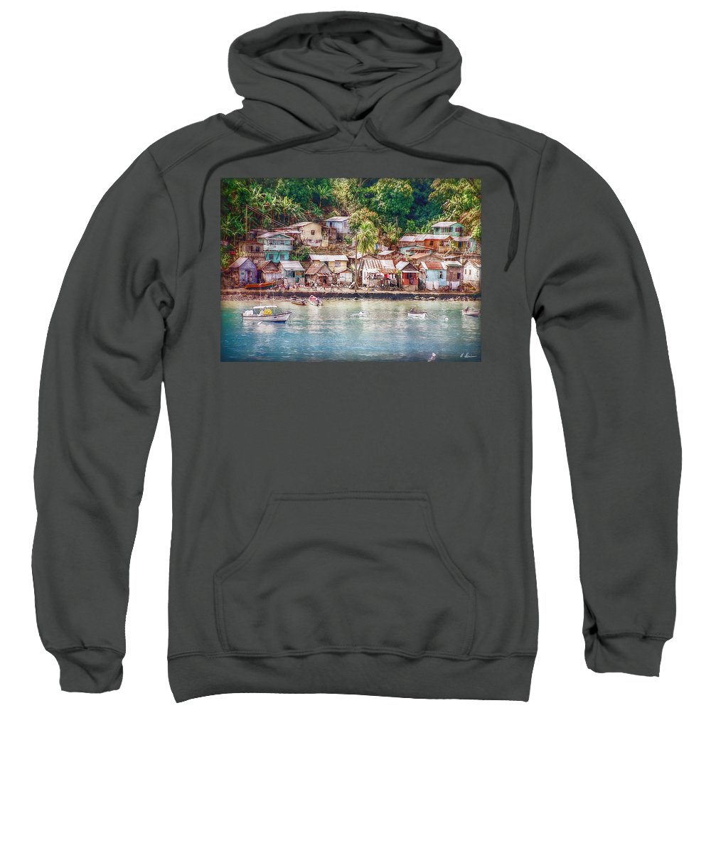 Karibik Sweatshirt featuring the photograph Caribbean Village by Hanny Heim