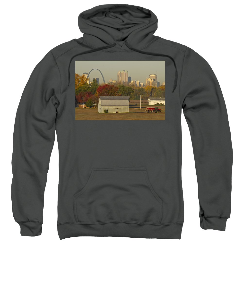 St Louis Sweatshirt featuring the photograph Carls Barn And The Arch by Garry McMichael