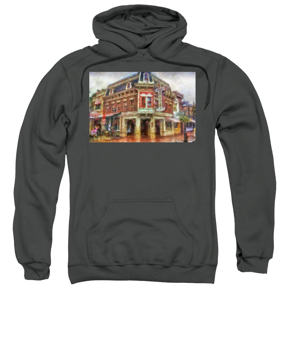 Disney Sweatshirt featuring the photograph Carnation Cafe Main Street Disneyland Photo Art 02 by Thomas Woolworth