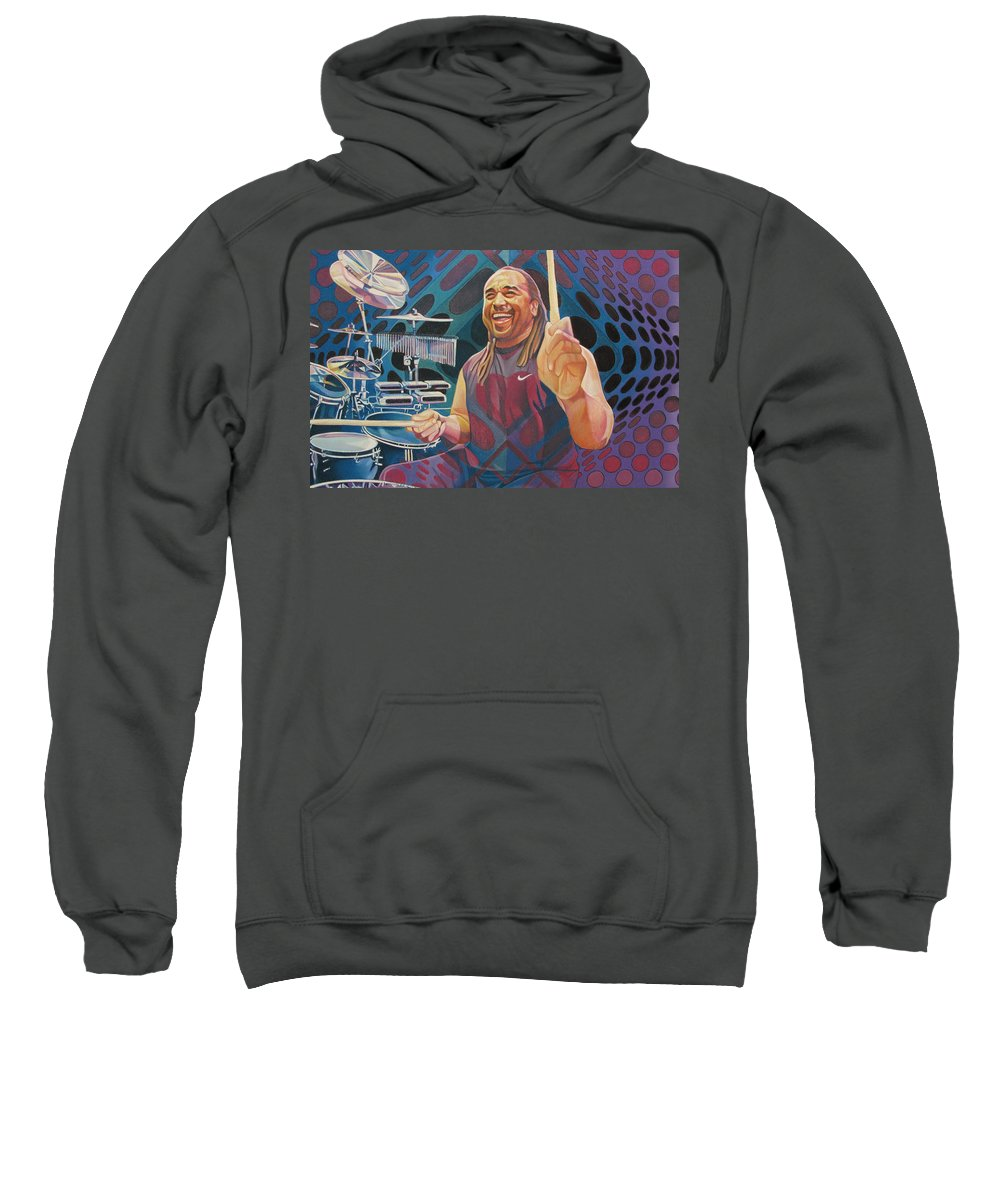 Carter Beauford Sweatshirt featuring the drawing Carter Beauford-op Series by Joshua Morton