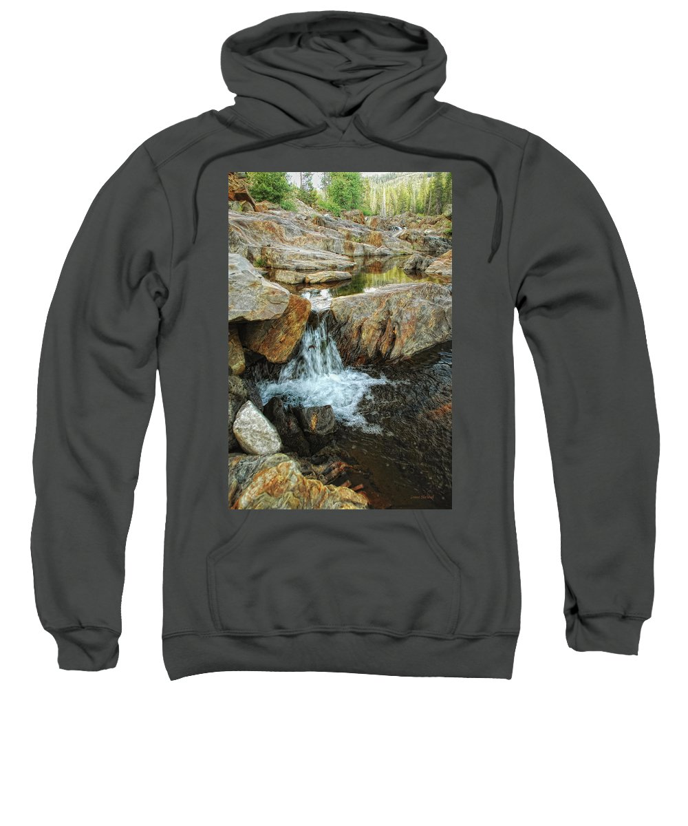 Yuba River Sweatshirt featuring the photograph Cascading Downward by Donna Blackhall