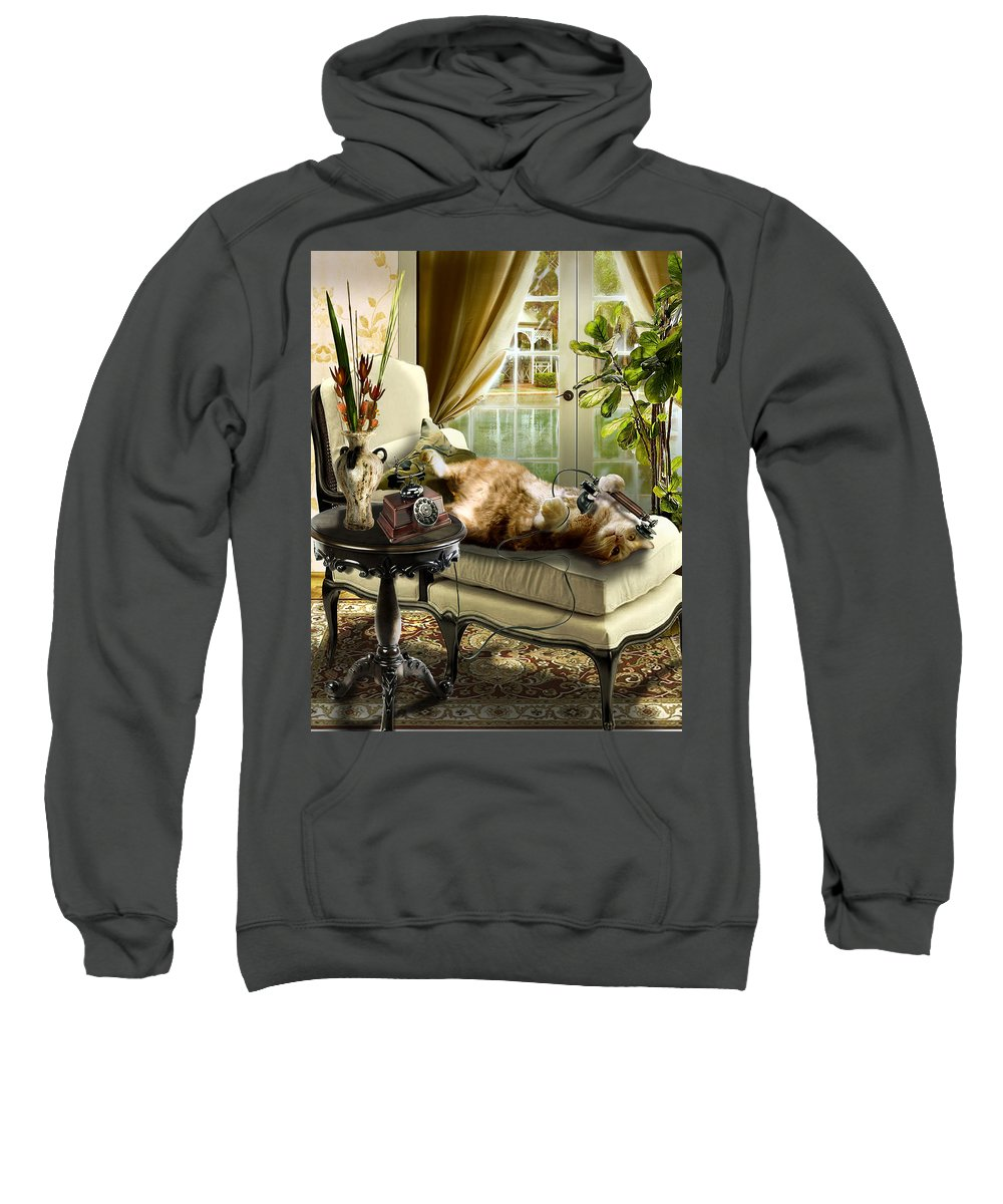 Pet Cat Painting Sweatshirt featuring the painting Funny Pet Talking On The Phone by Regina Femrite