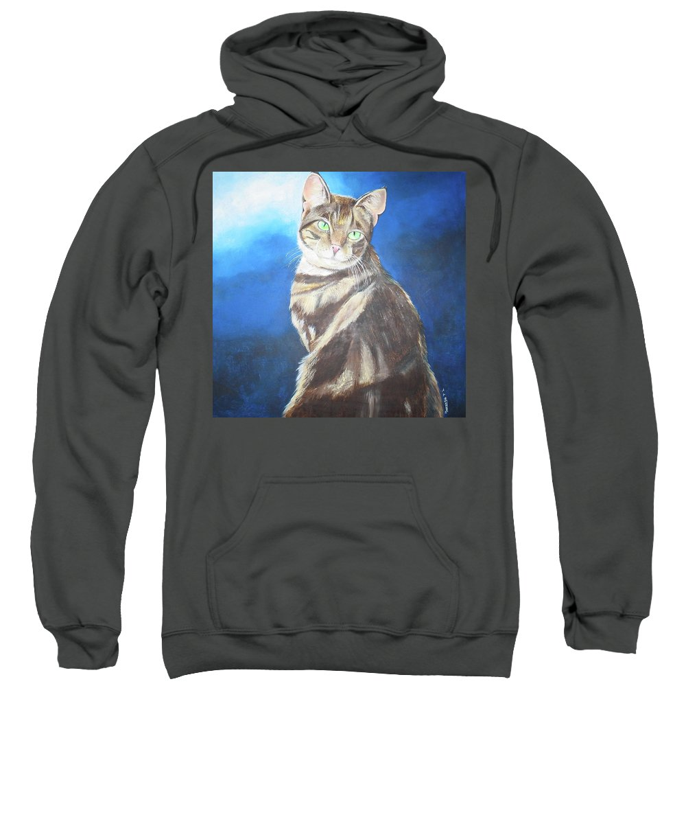 Persian Sweatshirt featuring the painting Cat Profile by Thomas J Herring
