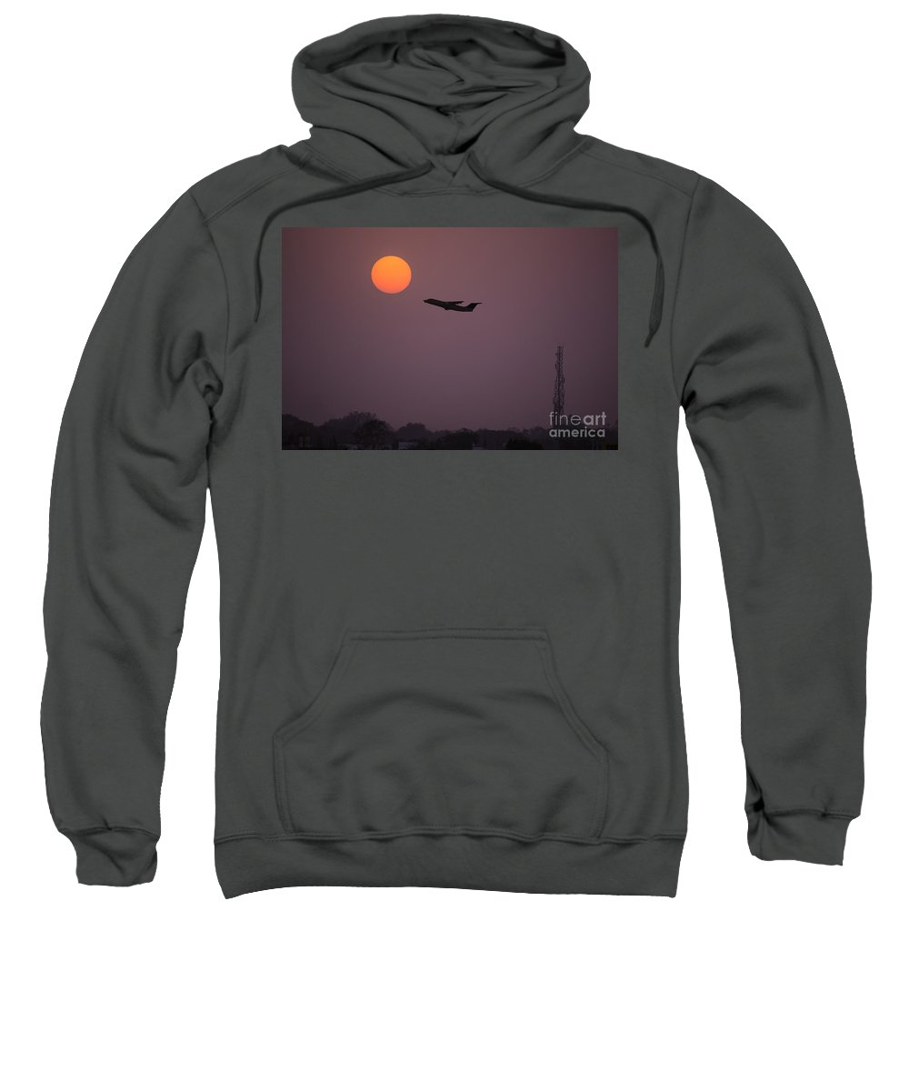 Fly Aeroplane Airplane Travel Sun Sunset Sunrise Fly Sunshine Dawn Dusk Twilight Dramatic Beautiful Flying Air Tourism Sea Shine Shining Vacation Holiday Concept Idea Nobody Summer Horizon Plane Pink Tower Sweatshirt featuring the photograph Catch The Sun by Image World
