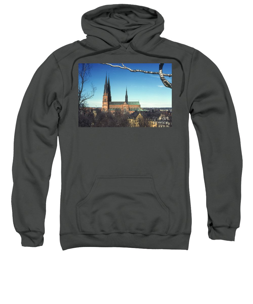Cathedral Cathedrals Uppsala Sweden Church Churches City Cities Cityscape Cityscape Building Buildings Structure Structures Architecture Steeple Steeples Place Places Of Worship Sweatshirt featuring the photograph Cathedral At Uppsala by Bob Phillips
