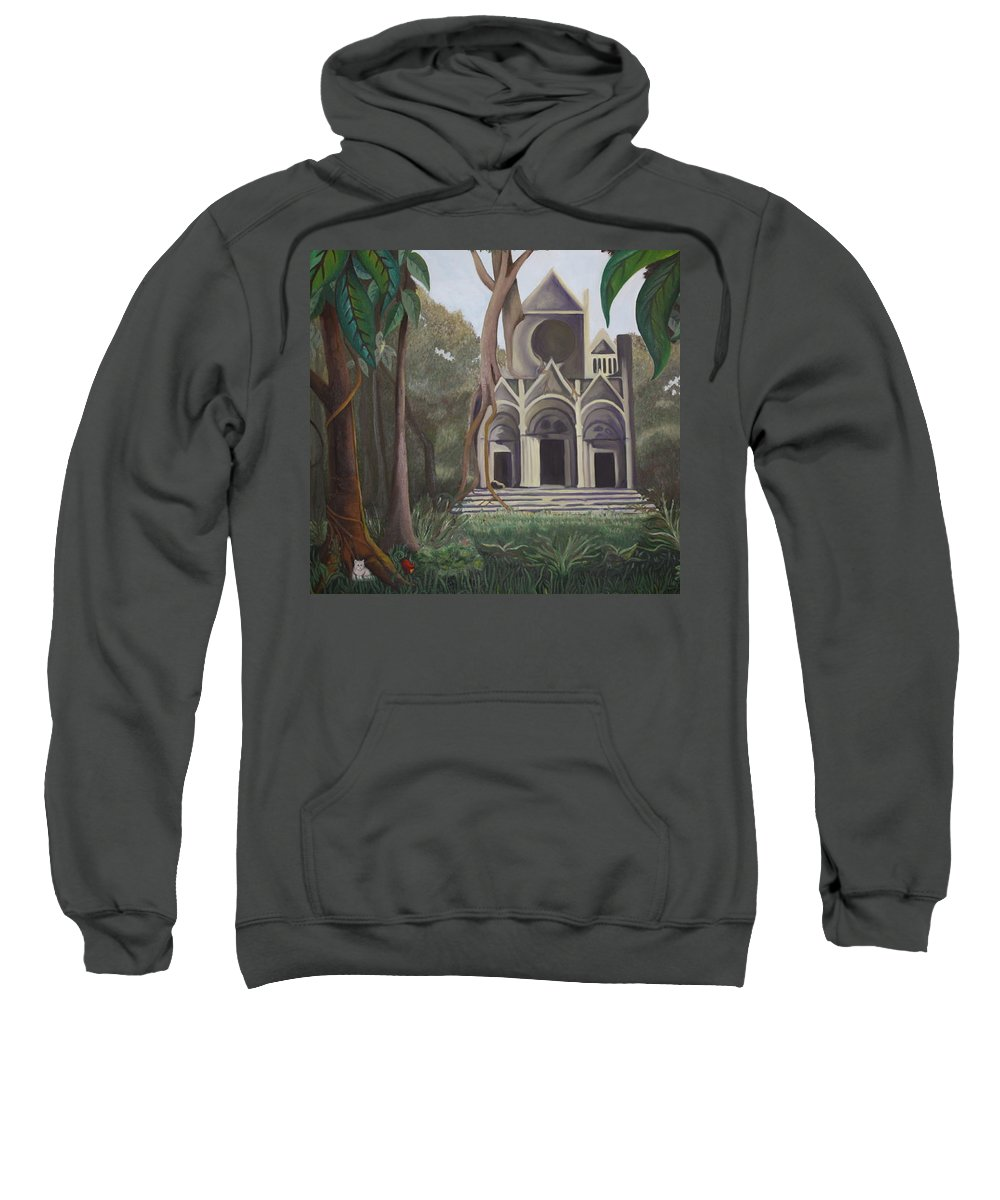 Cathedral Sweatshirt featuring the painting Cathedral In A Jungle by Erin Nessler