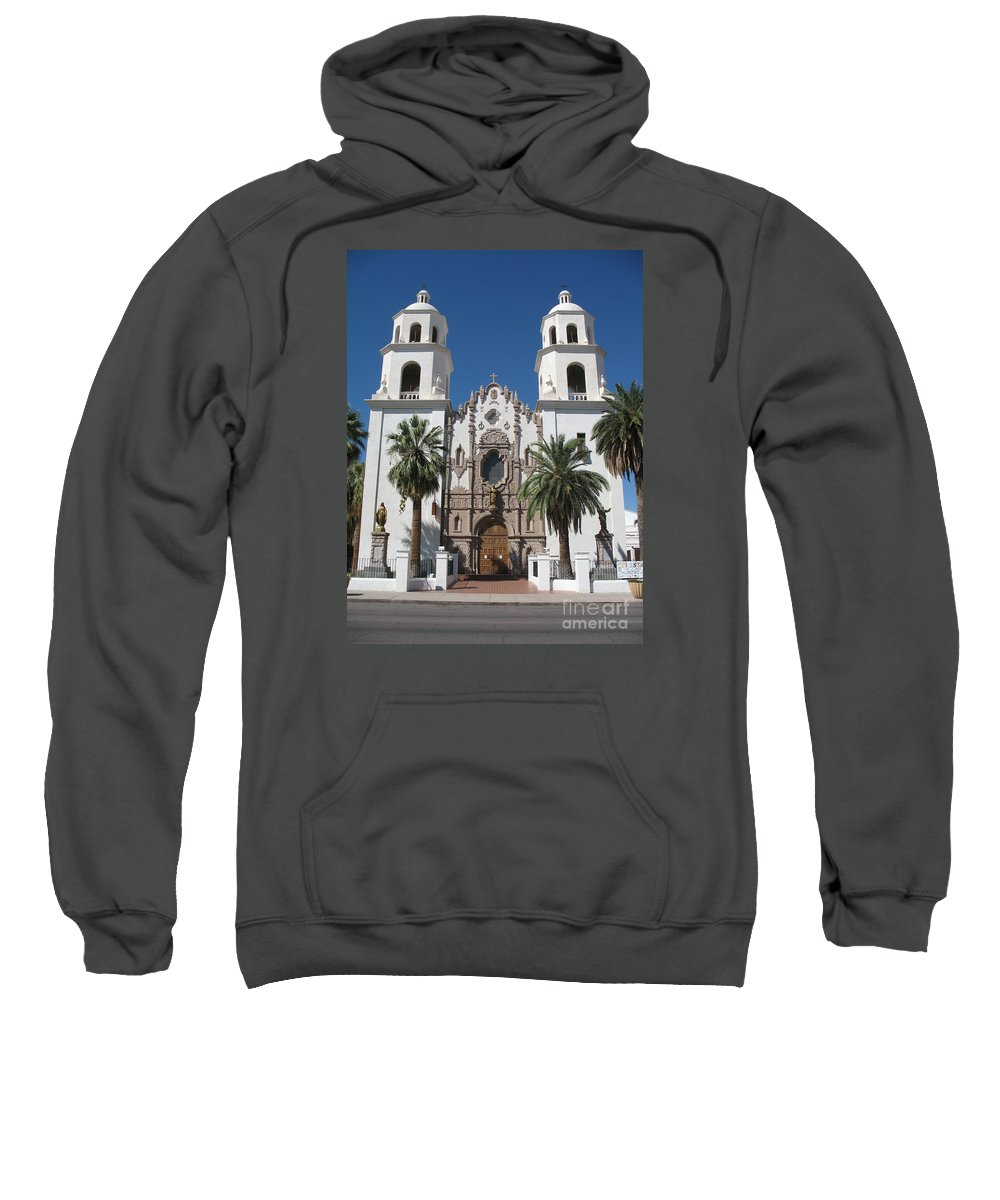 Church Sweatshirt featuring the photograph Cathedral Of St. Augustine Tuscon by Christiane Schulze Art And Photography