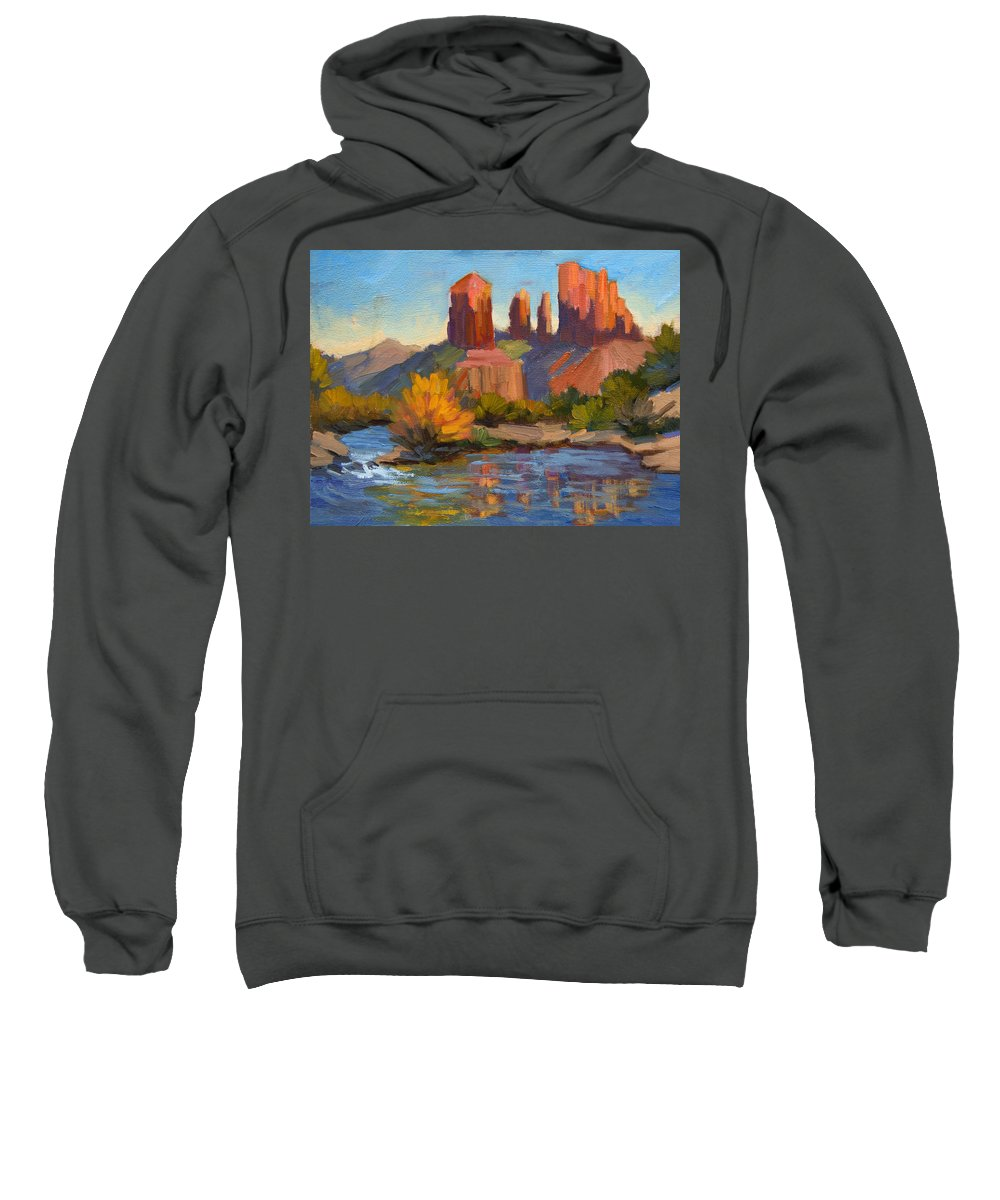 Cathedral Rock Sweatshirt featuring the painting Cathedral Rock 2 by Diane McClary