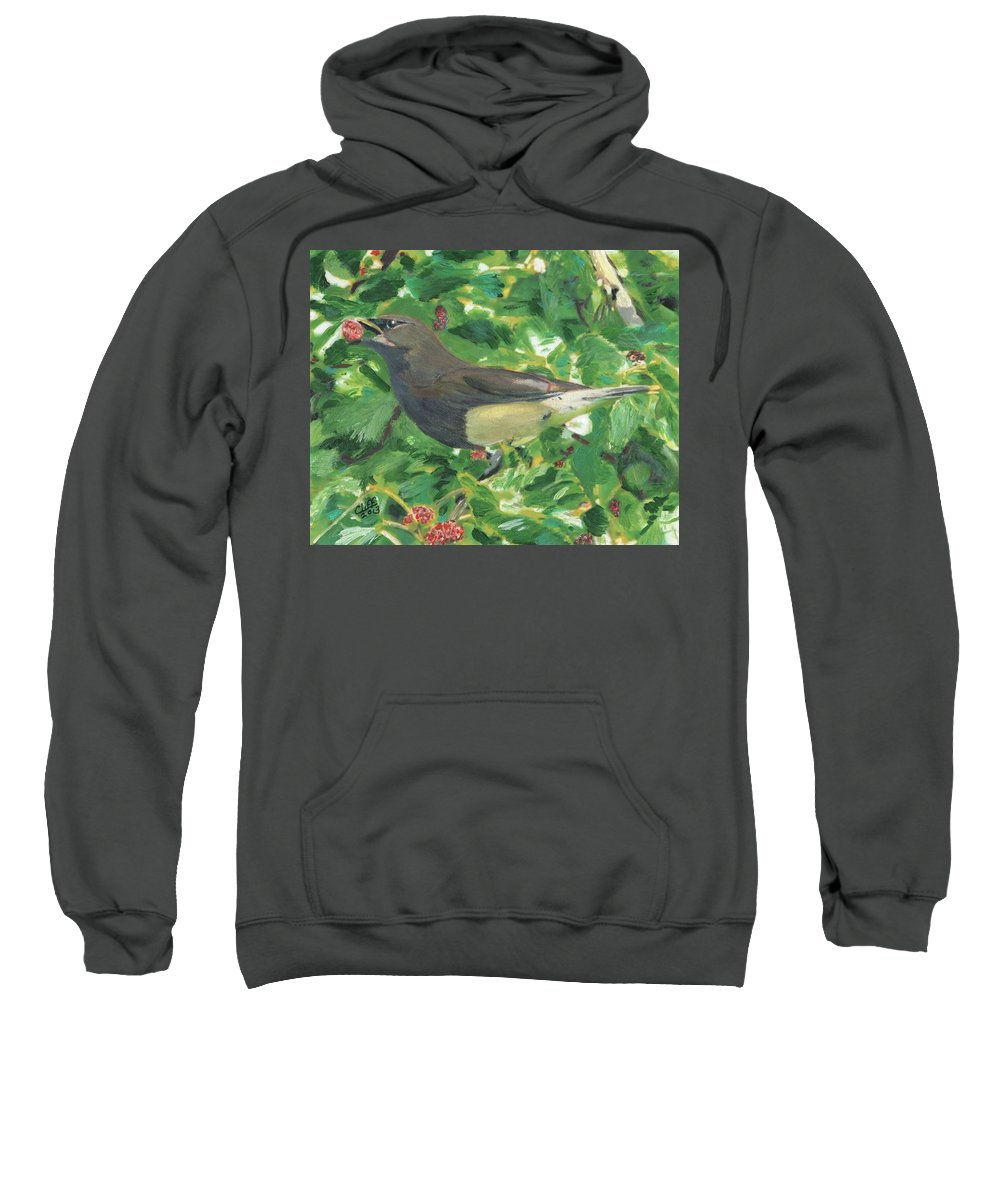 Bird Sweatshirt featuring the painting Cedar Waxwing Eating Mulberry by Cliff Wilson
