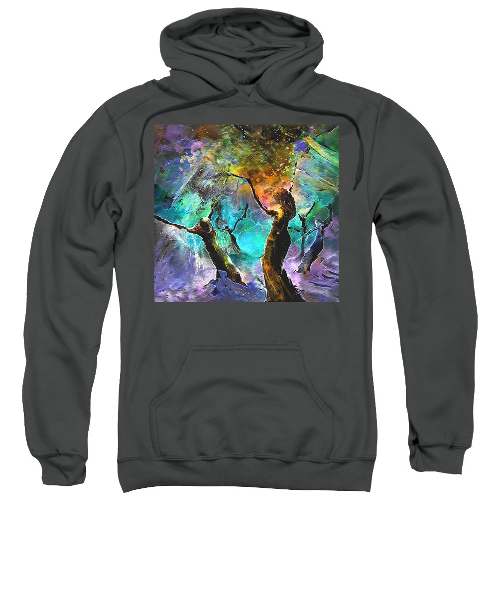 Miki Sweatshirt featuring the painting Celebration Of Life by Miki De Goodaboom