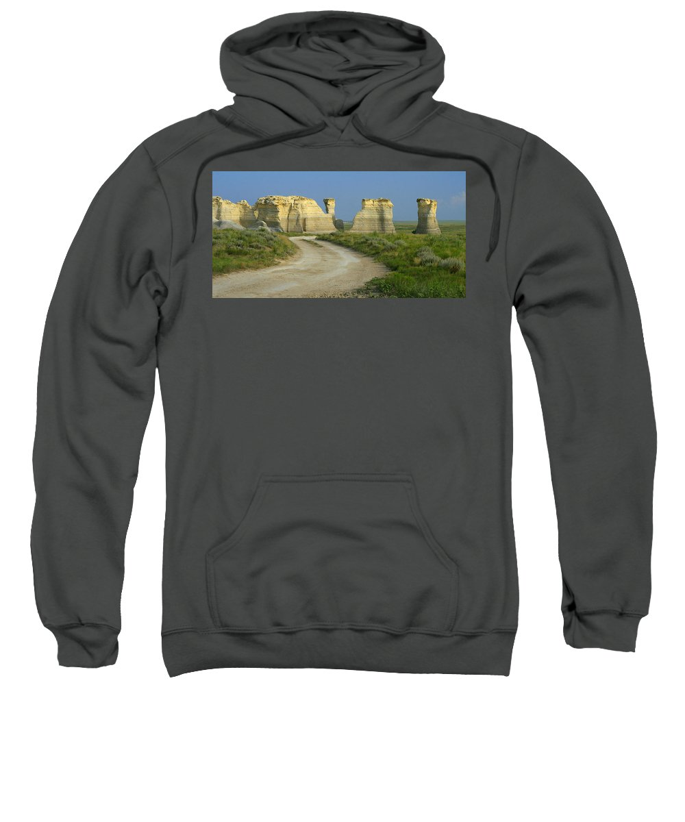 Kansas Sweatshirt featuring the photograph Chalk Pyramids by Garry McMichael