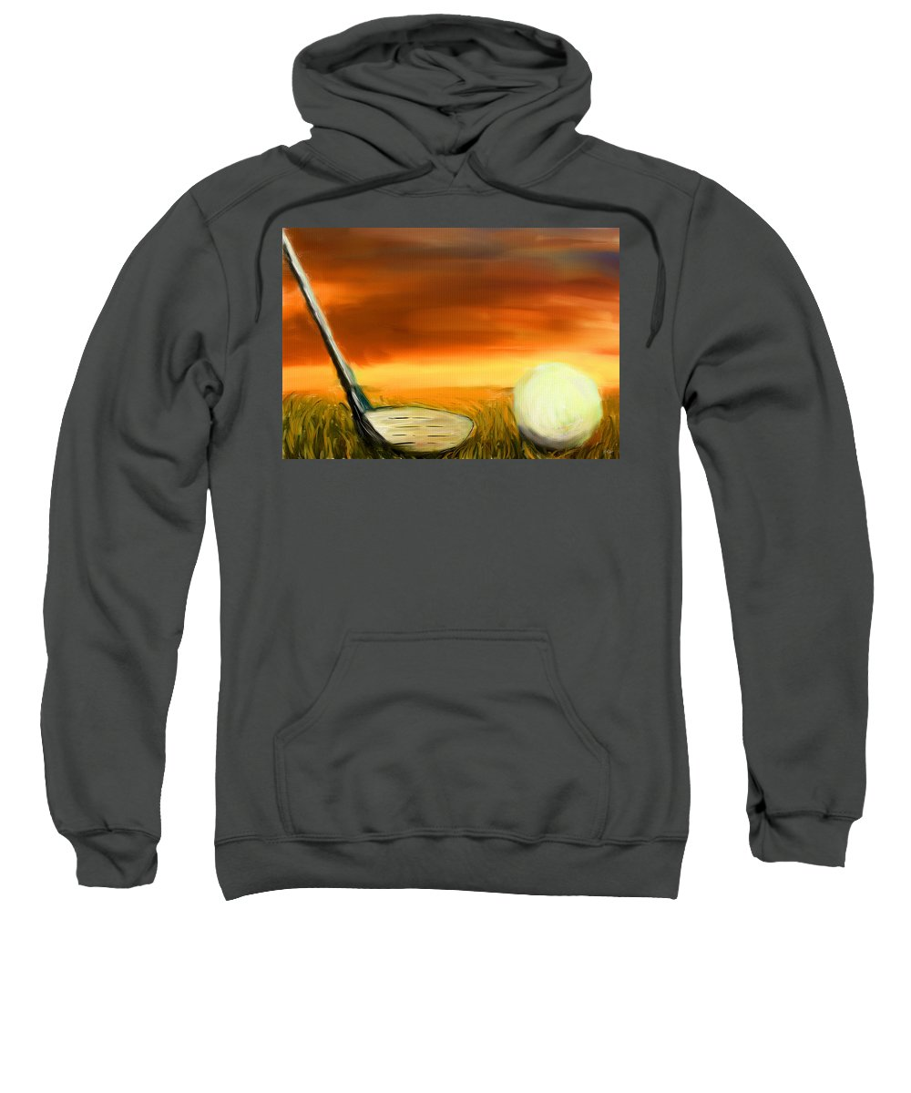 Golf Sweatshirt featuring the digital art Chance To Hit by Lourry Legarde