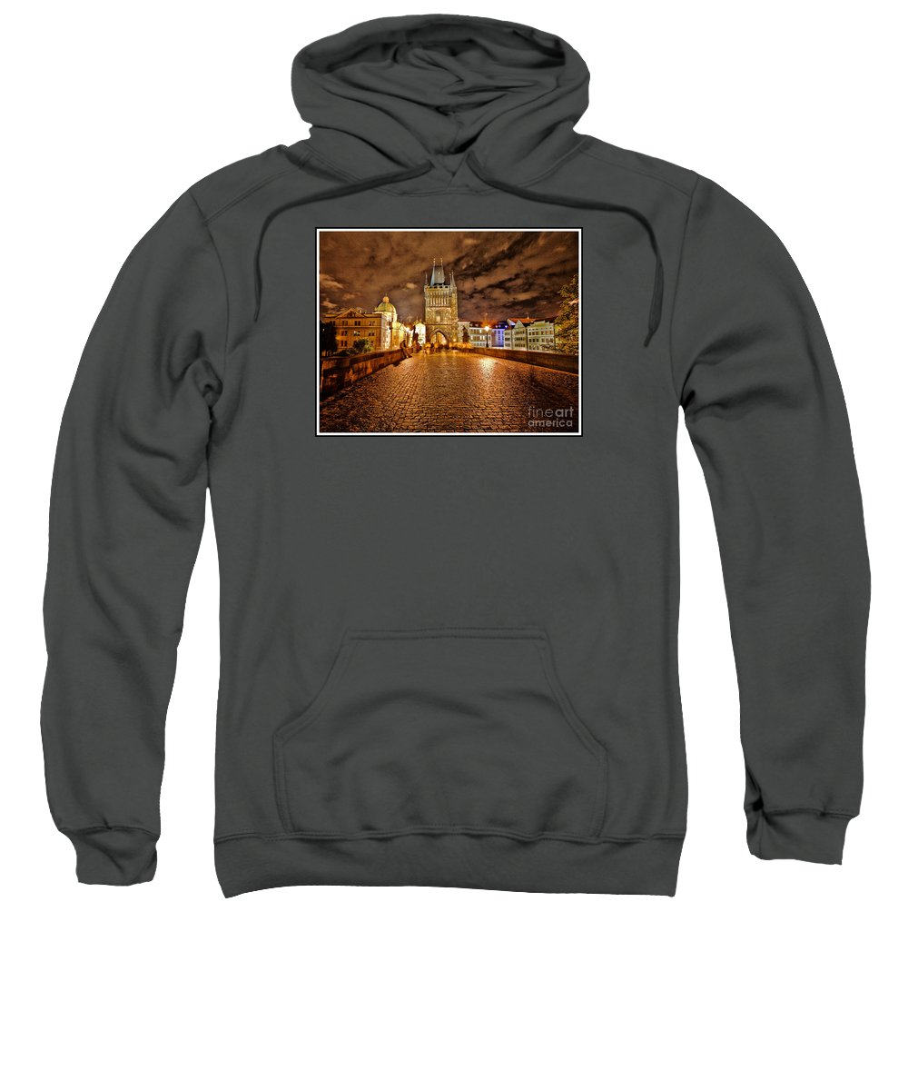 Charles Bridge Sweatshirt featuring the photograph Charles Bridge At Night by Madeline Ellis