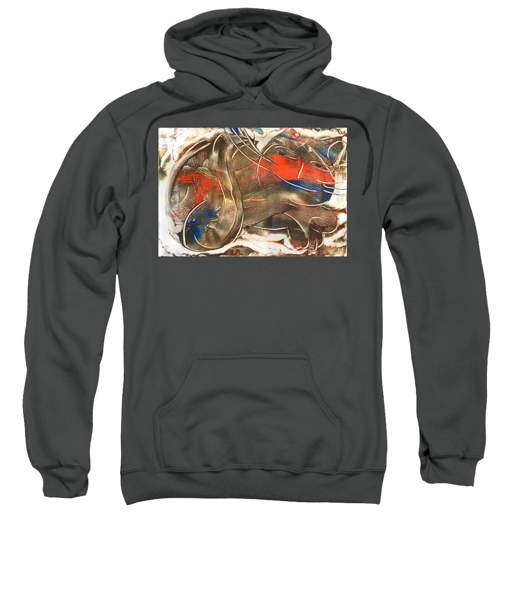 Cat Sweatshirt featuring the painting Chat Accompli by Laura Lee Cundiff