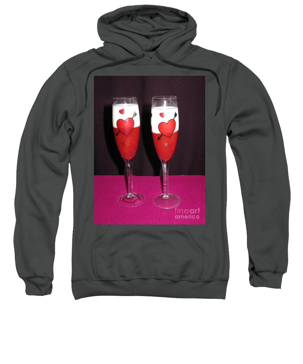 Strawberry Dessert Sweatshirt featuring the photograph Cheers My Love 01 by Ausra Huntington nee Paulauskaite