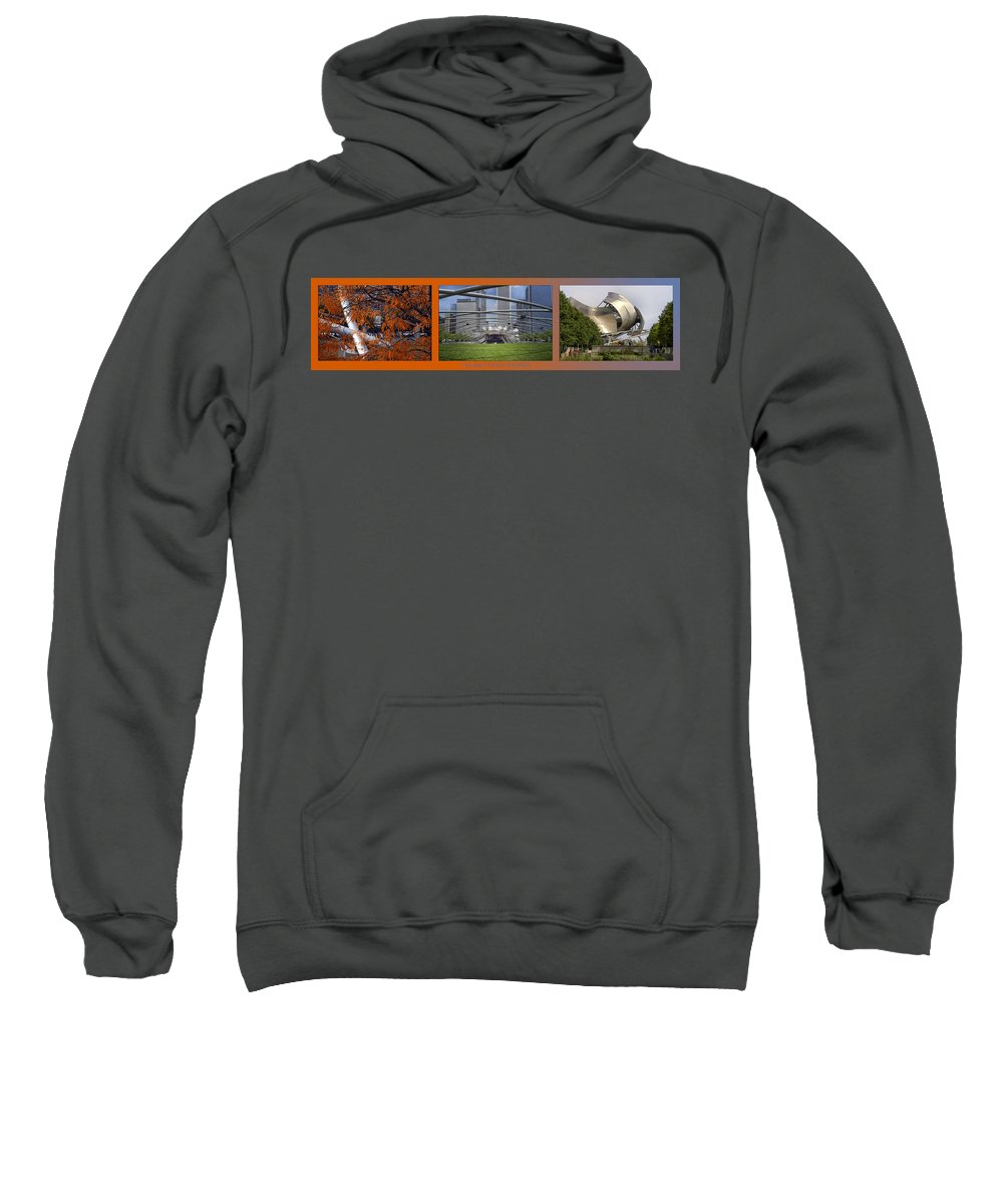 Chicago Sweatshirt featuring the photograph Chicago Pritzker Music Pavillion Triptych 3 Panel by Thomas Woolworth