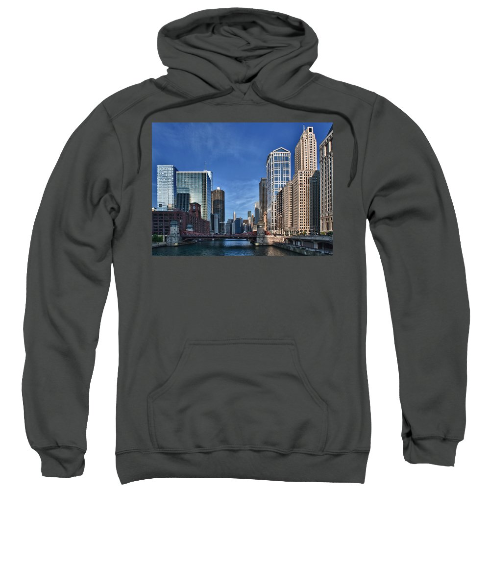 Chicago Sweatshirt featuring the photograph Chicago River by Sebastian Musial