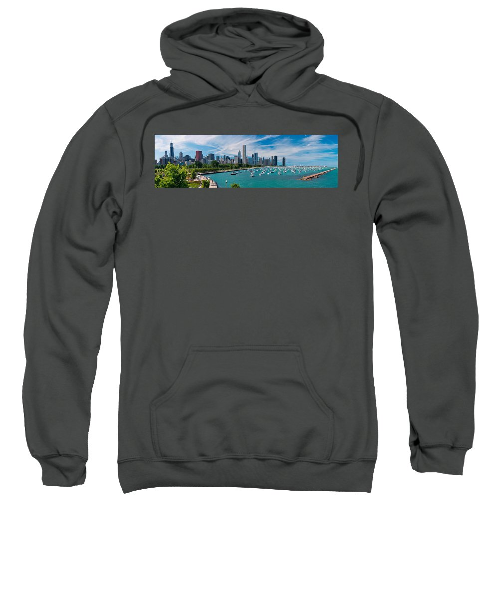 3scape Sweatshirt featuring the photograph Chicago Skyline Daytime Panoramic by Adam Romanowicz