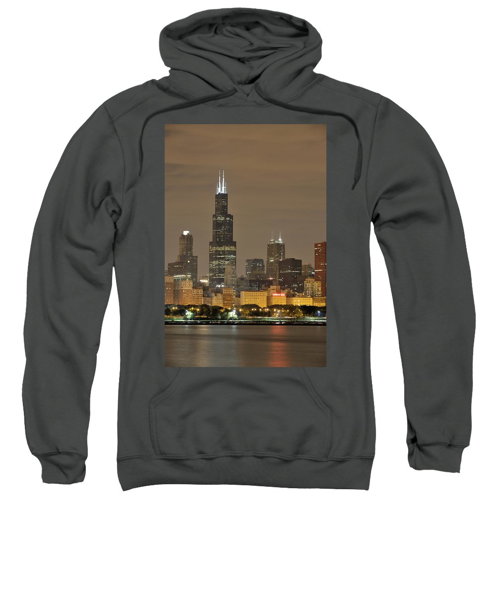 Chicago Skyline Sweatshirt featuring the photograph Chicago Skyline At Night by Sebastian Musial