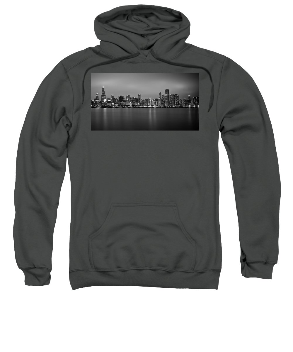 Chicago Sweatshirt featuring the photograph Chicago Skyline In Fog With Reflection - Black And White by Anthony Doudt