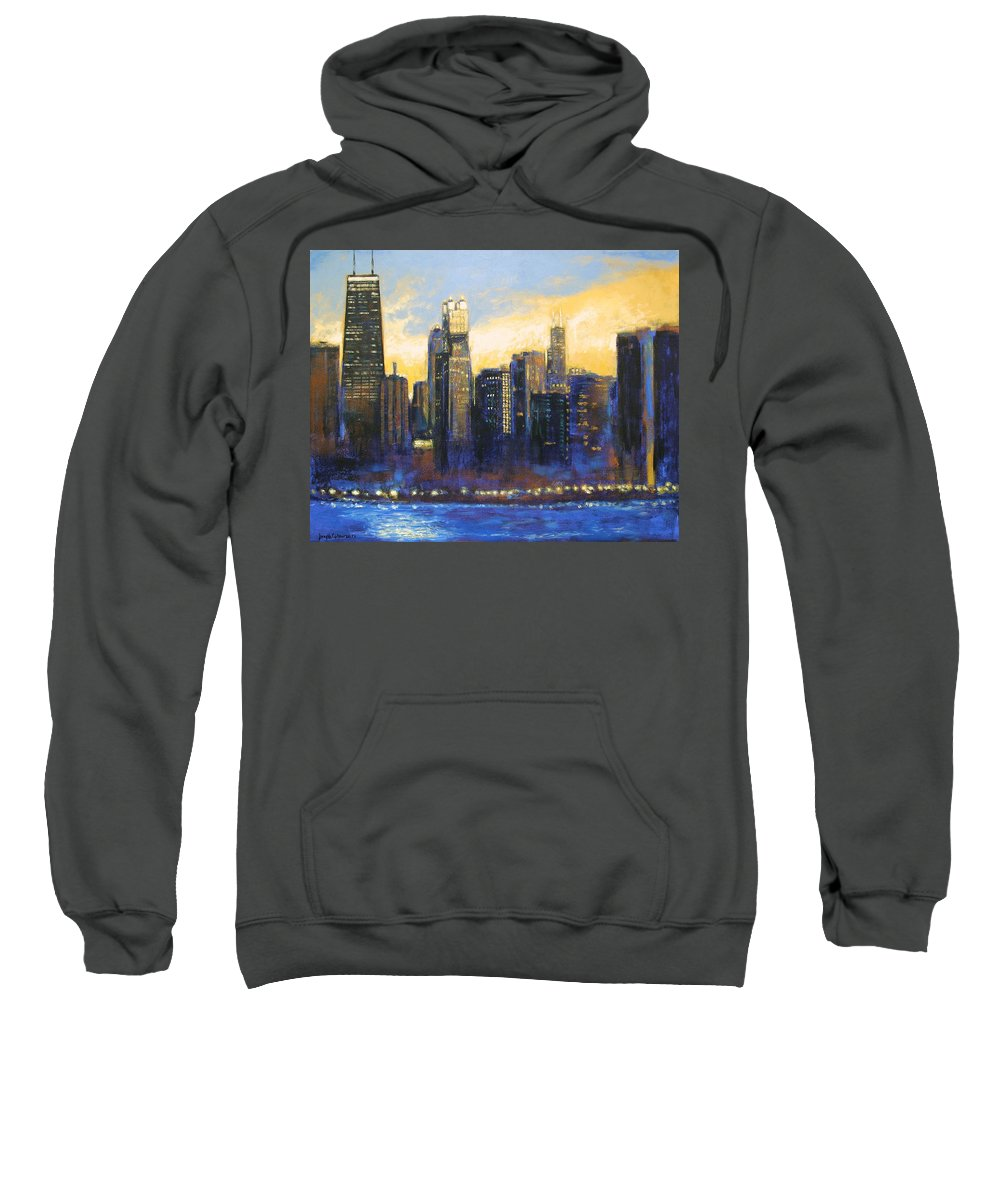 Chicago Skyline Sweatshirt featuring the painting Chicago Sunset Looking South by Joseph Catanzaro