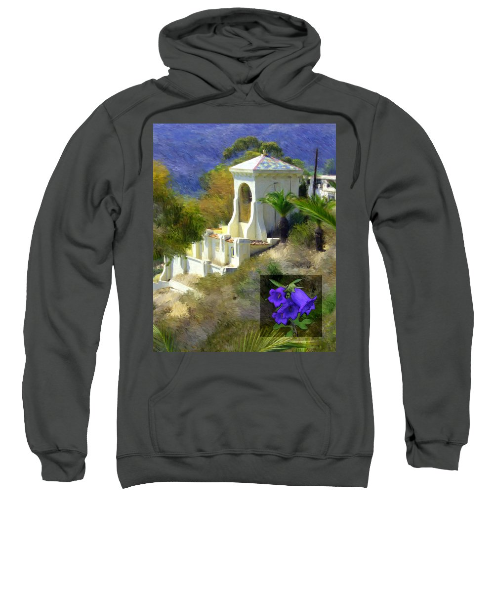 Chimes Tower Sweatshirt featuring the digital art Chimes Tower Bell Flower by Snake Jagger