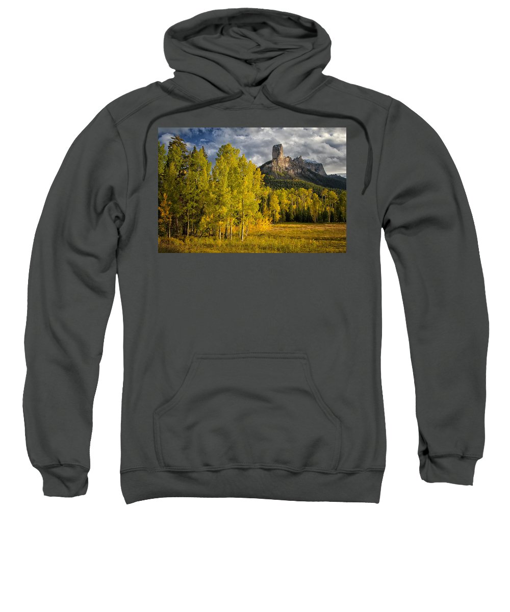 Chimney Rock Sweatshirt featuring the photograph Chimney Rock San Juan Nf Colorado Img 9722 by Greg Kluempers