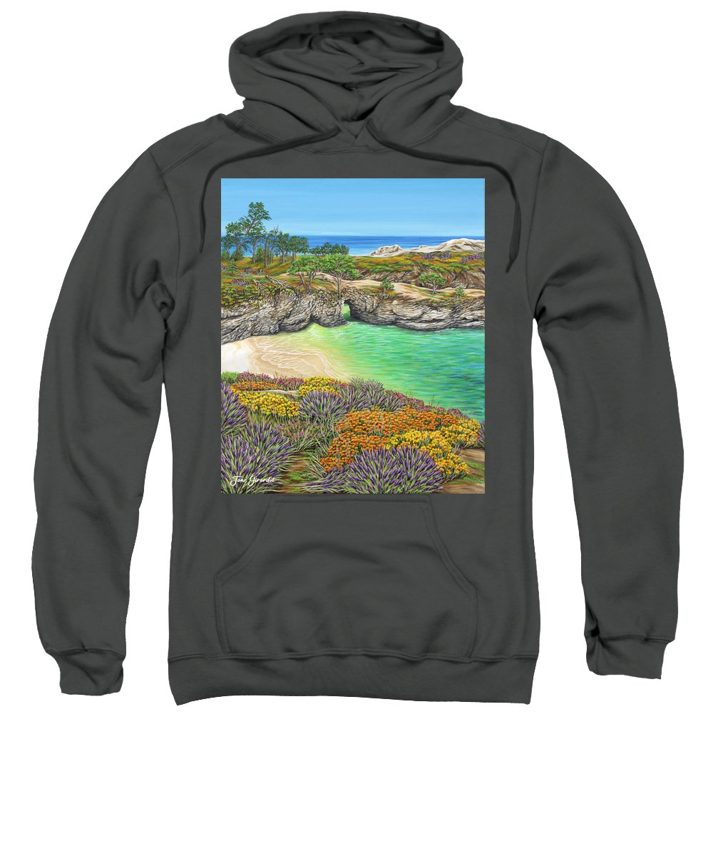 Ocean Sweatshirt featuring the painting China Cove Paradise by Jane Girardot